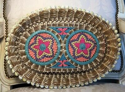 Vintage Cowrie Shell Oval Tray Handwoven Decorative