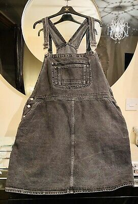 ASOS Black Stone Wash Denim Pinafore Dungaree Dress Size 24 Excellent