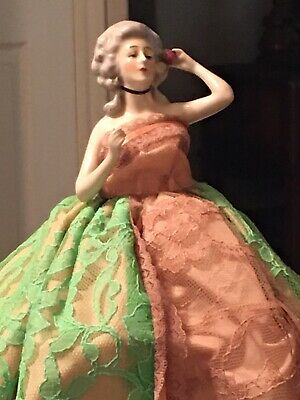 Most Beautiful MARKED GOEBEL Half Doll Holding Rose - Solid Base