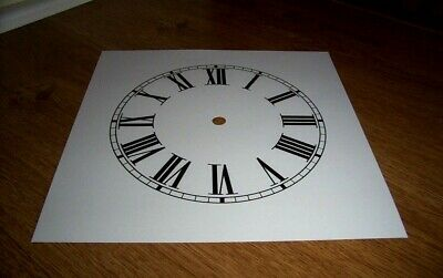 "Ogee Paper (Card) Clock Dial - 7 1/4"" M/T - Roman - MATT WHITE -  Parts/Spares"