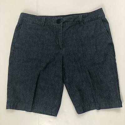 Ann Taylor LOFT Women's Sz 8 100% Cotton Denim Blue Bermuda Jean Shorts Chambray
