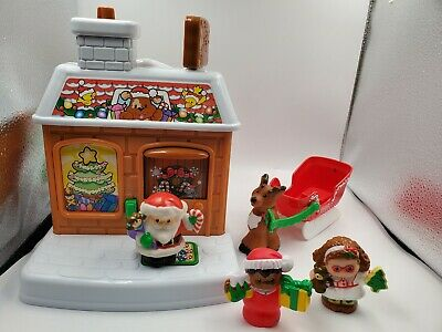 Fisher Price Little People Visit From Santa Claus House Sounds Building Chimney