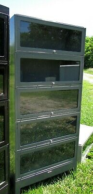 Vintage Metal Stack of 3 Barrister Lawyer Bookcases w/Base & Top