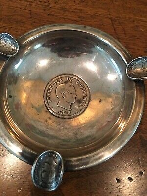 Columbian 900 Sterling Silver Ashtray With Coins