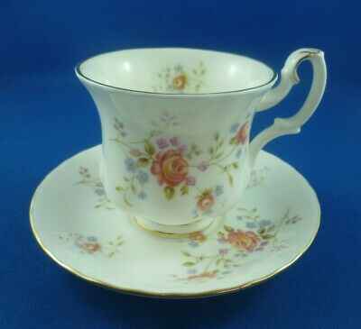 Vintage Royal Albert Peach Rose Demitass Coffee cup and saucer 1982 ENGLAND