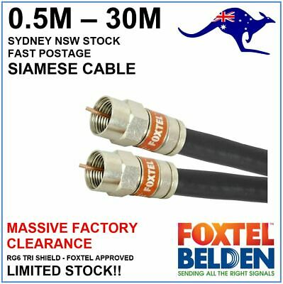 Genuine Foxtel Approved Siamese RG6 Quad Shield Coax Cable - 50cm to 25m