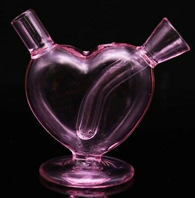 "3"" Pink Heart Water Pipe Hookah Bong Tobacco Smoking Small Glass Hand Herb Bowl"