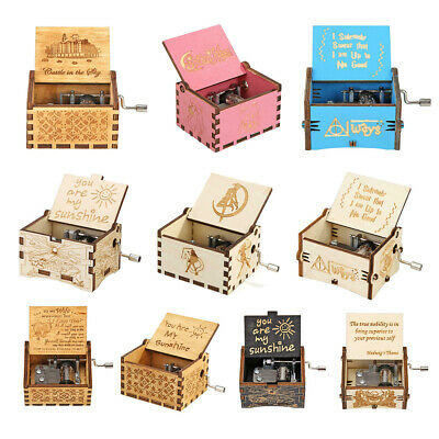 Retro Carved Wooden Manual Music Box Hand Cranked Birthday Gift Ornaments