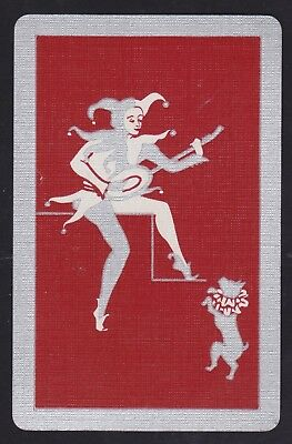 1 Single VINTAGE Swap/Playing Card CLOWN JESTER PLAYS LUTE DANCING DOG Silver