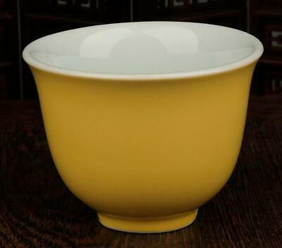 Chinese Collection Old Handmade Yellow Glaze Porcelain Cup Xuande Mark C01