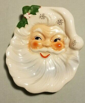 Vtg Santa wall hanger Christmas spoon rest retro decor Handpainted