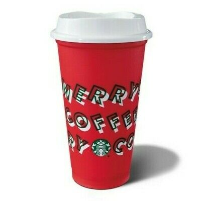 Starbucks Holiday Christmas 2019 Red Reusable Cup w/ Lid- 2 CUPS SET
