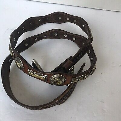 Nocona Western Mens Belt Leather Laced Conchos Brown N2413244
