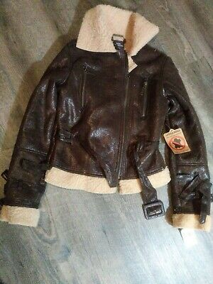 Girls Joujou Faux Leather & Fur Jacket Brown SZ S Zippers Buckles