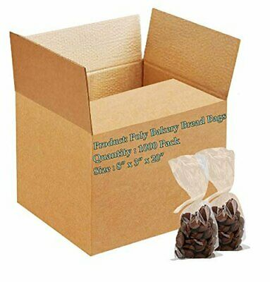1000 Poly Bakery Bread Bags 8 x 3 x 20 Clear Gusseted Bags