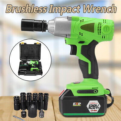 16800mAh 1/2'' Electric Cordless Impact Wrench Drill High Torque Tool Kit