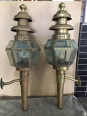 Pair Antique Carriage Lamps Lime House Lamp Co 225 00