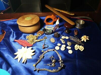 Vintage group lot timber jeweller box jewellery  and other