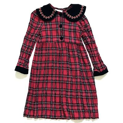 Bonnie Jean Dress Girls 6 6X Plaid Red Long Sleeve Velvet Button Down Christmas