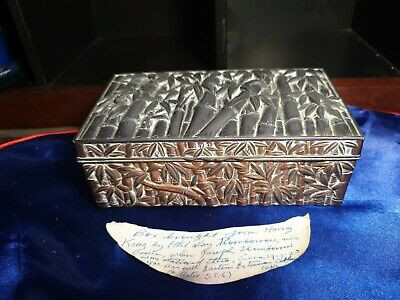 Vintage 1917-1920  Art Nouveau jewelry box trinket metal