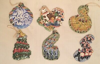 Gail Pittman ~ Twelve Days of Christmas ~ 7 Swans Hand painted Ornaments Signed