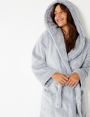 Brand New Ex M&S Soft Long Pile Hooded Wrap Dressing Gown Grey Sizes 6-22