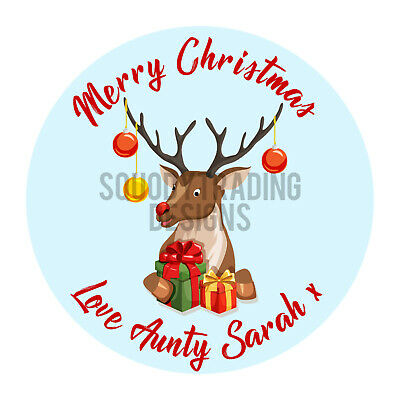 Reindeer Printed Round Stickers - Custom Christmas labels Xmas Personalised Name