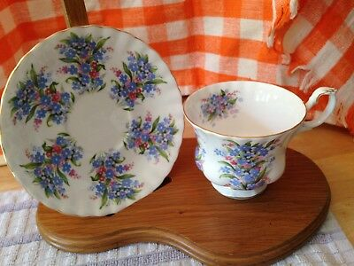 """Footed Cup & Saucer Bone China ROYAL ALBERT Springtime Series """"Forget Me Not"""""""