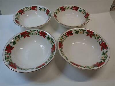 4 Vtg Gibson Housewares Christmas Holiday Poinsettia Soup Cereal Bowls 6.25 inch