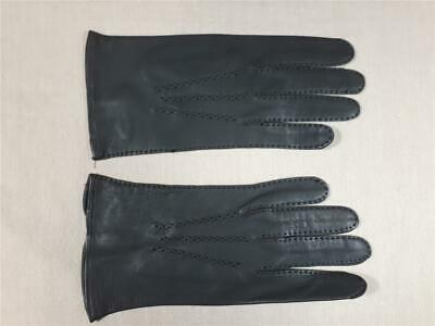 Vintage Ladies (Small Men's?) Grey Leather Gloves Stitch and Button detail  #4