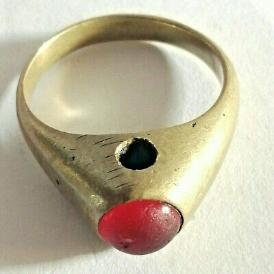 Ancient ROMAN Ring With Stone Bronze artifact Amazing Piece.
