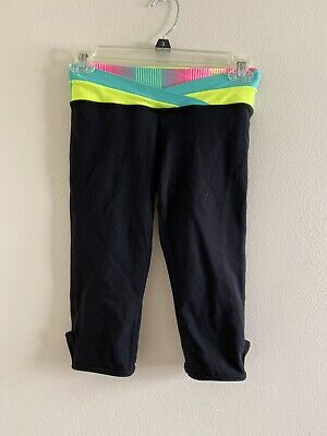 Ivivva Girls Size 10 Crop Leggings Cropped Capri Black Pink Blue Girl Athletic