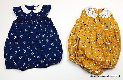up to 3 month NEXT baby girl bundle of 2 beautiful rompers set blue yellow