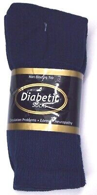 Diabetic Navy Blue Crew Socks 3 Pair Men's Size 10-13 Made in USA