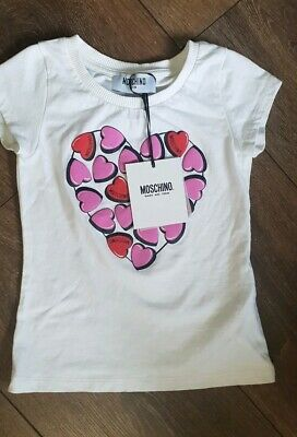 Girls Moschino BNWT Top Tshirt Logo Age 4 3-4 Years RRP £50 hearts white pink