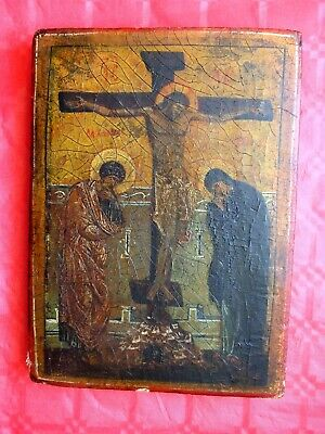 """rarest antique Russian icon """"Crucifixion of Jesus"""", 19th century or early"""