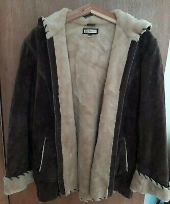 WILSON LEATHER Suede Faux Fur Lining Jacket Women's XL Great used condition