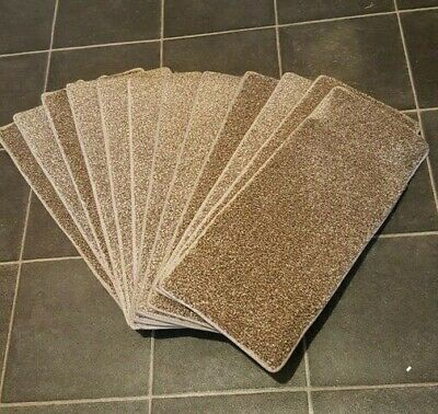12x Stair Pads/Treads 53cm Wide Brown with beige fleck Colour Cut Pile#10,073