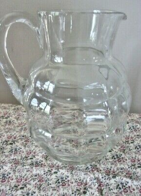 """Block Pattern Heavy Crystal Clear Glass Pitcher 8-1/2"""" Tall"""