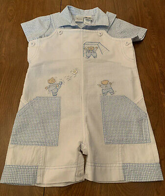 Sarah Louise England. Baby Boy's Two Piece Outfit. Size 18 Months. Blue & White