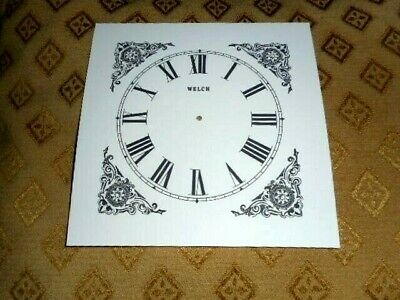 "Welch Shelf/Mantle Paper (Card) Clock Dial- 4 1/2"" M/T -MATT WHITE-Parts/Spares"