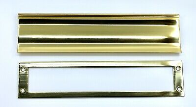 "Heavyweight  ""SOLID BRASS"" Bright Polished Letter Box Plate Set by IVES"