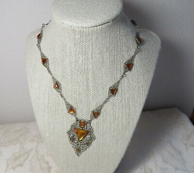 Antique Art Deco Necklace with  Triangular Topaz Colored Glass Stones
