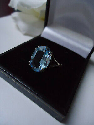 Antique Edwardian - Art Deco Stunning Solitaire Blue Topaz or Paste Silver Ring