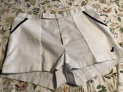 Best! VTG 70s JANTZEN CRAZY SHORT TENNIS ATHLETIC SHORTS W/ TERRY CLOTH SIDES 34