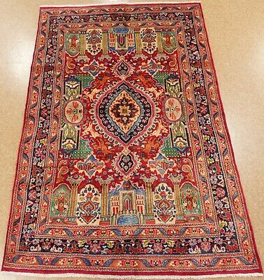 """Hand Knotted Kashmar Rug Wool Red Pictorial Oriental Carpet 6'5"""" x 9'8"""""""