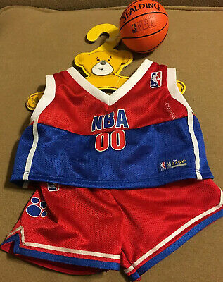 Build A Bear clothes outfit NBA #00 Red / Blue basketball shorts & jersey & Ball