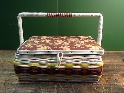 BRT Vintage 1960s - 1970s Woven Sewing Basket Floral Padded Cloth Pin Cushion
