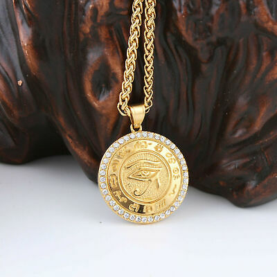 Women Men Stainless Steel Gold Eye Of Horus Crystal Amulet Pendant Necklace Cool