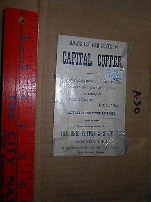 Victorian Advertising Trade Card Jersey Coffee Capitol Rome Italy Ohio Columbus